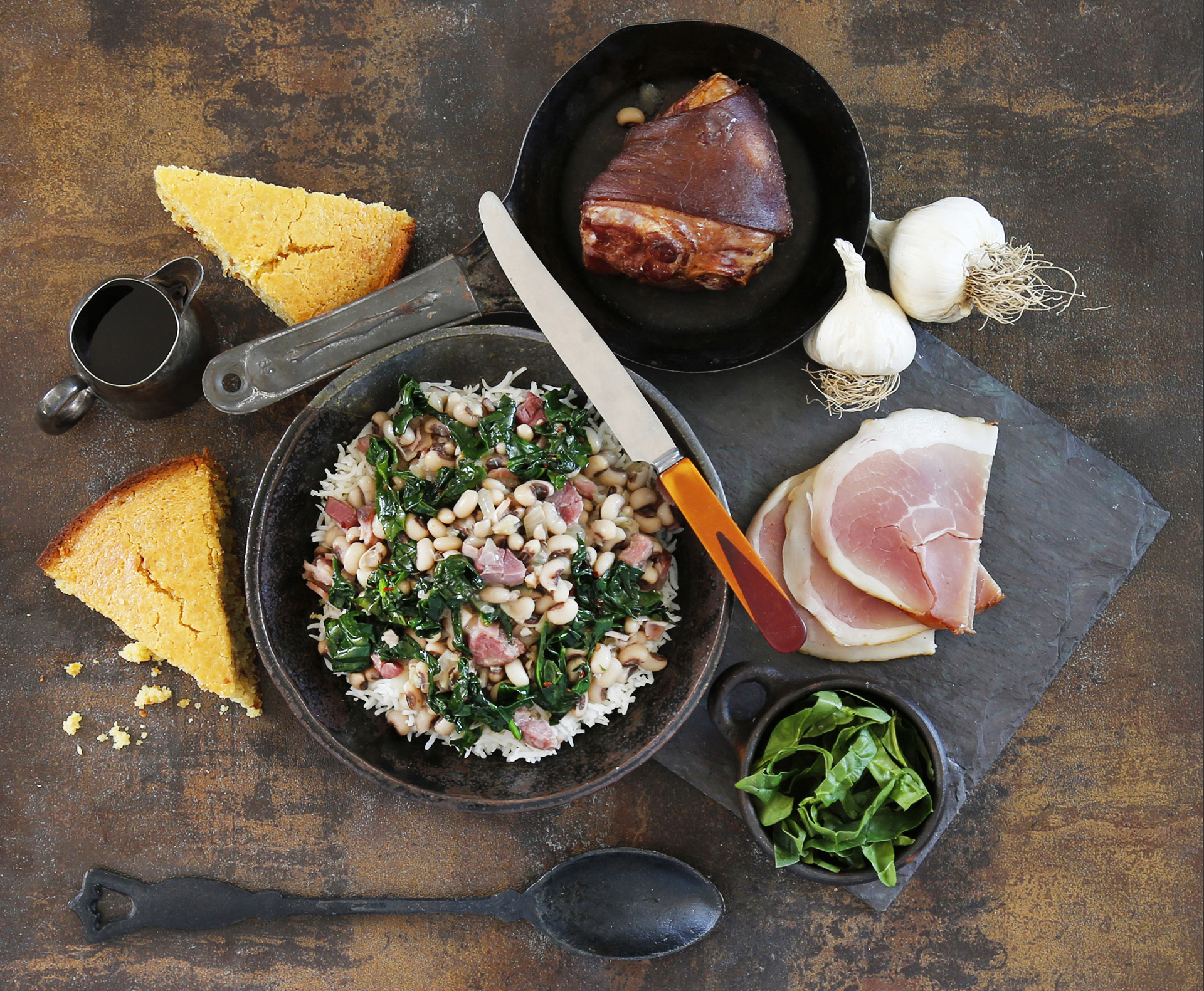 Hoppin' John (Black-eyed Peas with Rice, Greens & Cornbread)