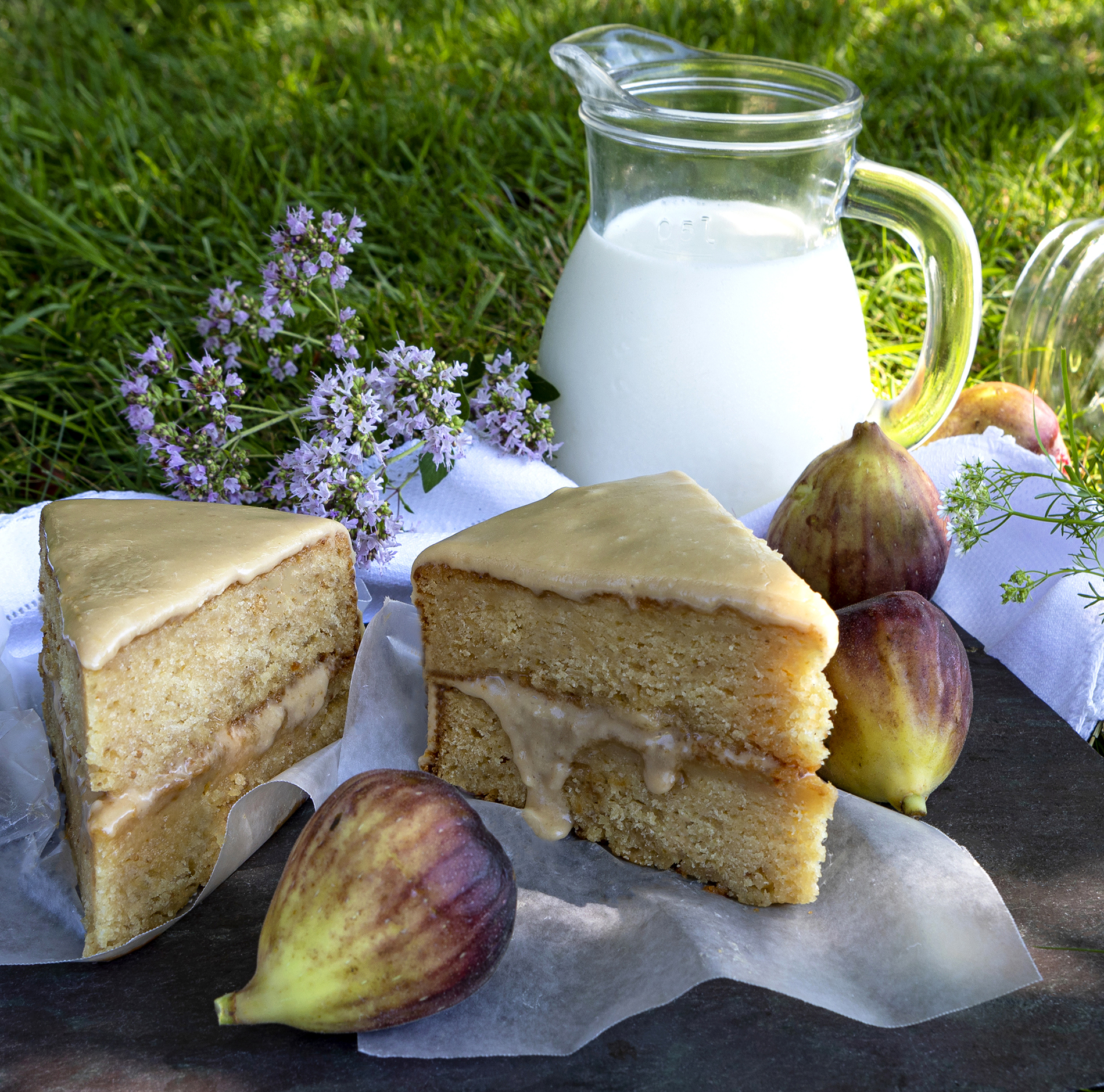 Fresh Fig Layer Cake with Caramel Icing