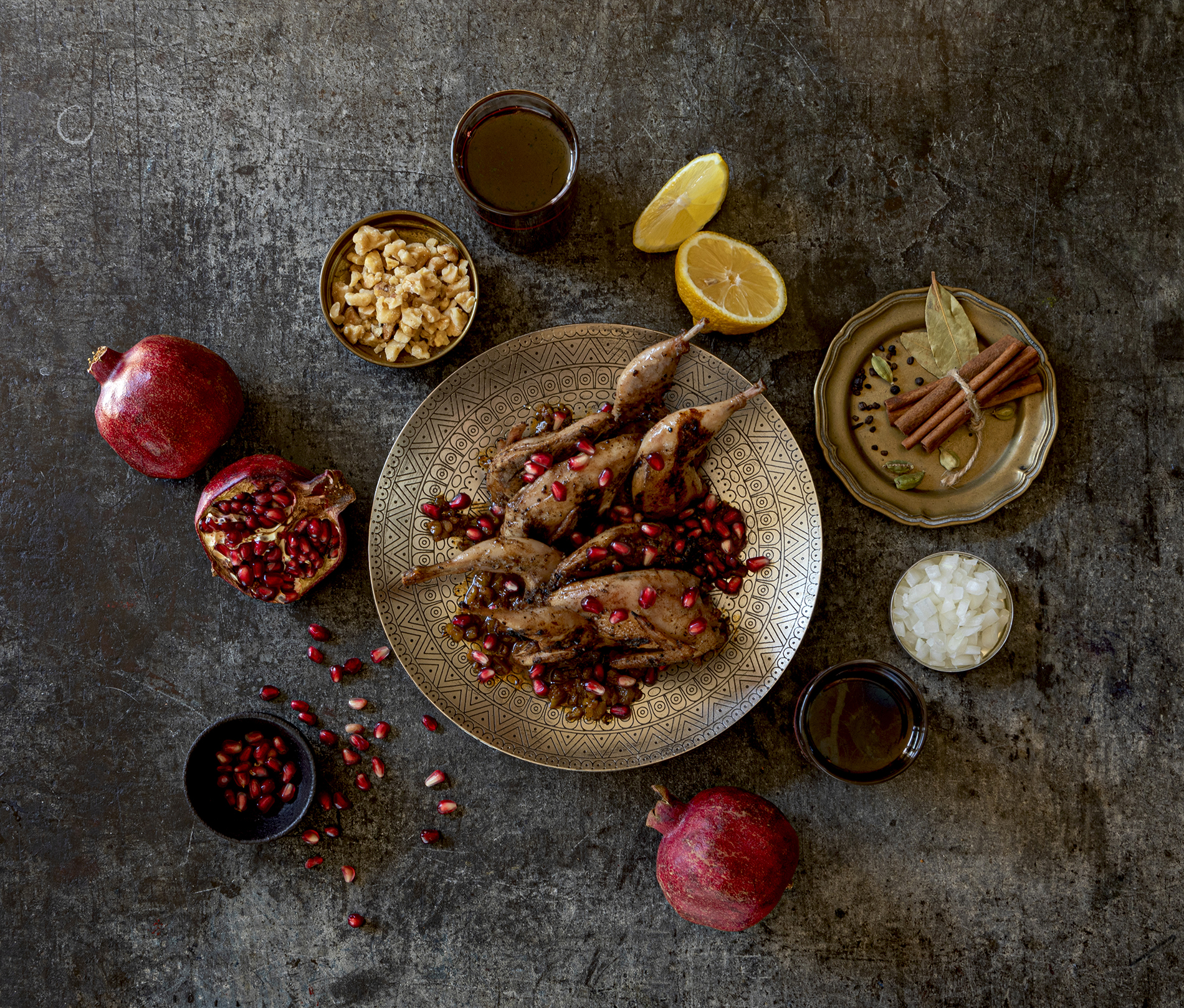 Persian Quail with Pomegranate Walnut Sauce (Fesenjan)