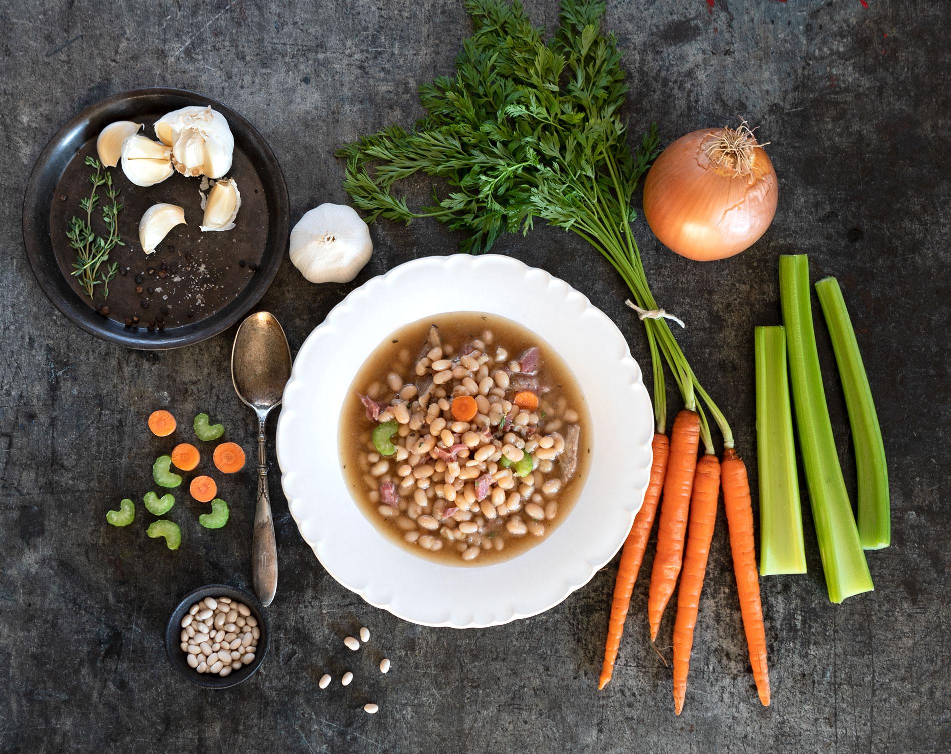 North Carolina Cassoulet (Navy Beans & Meats in Ham Hock Stock)